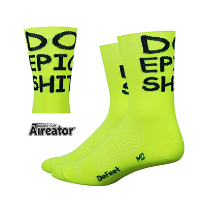 DeFeet Aireator HiVis geel do epic shizel sok
