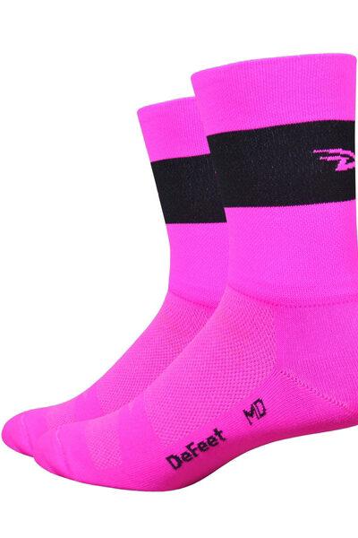 Aireator 5 Team DeFeet Hi_Vis roze zwart logo