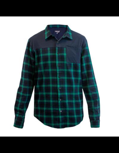 handup-flextop-flannel-green-navy front